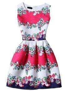 Sleeveless Florals Jacquard A-Line Dress