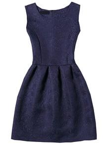Navy Sleeveless Jacquard A-Line Dress