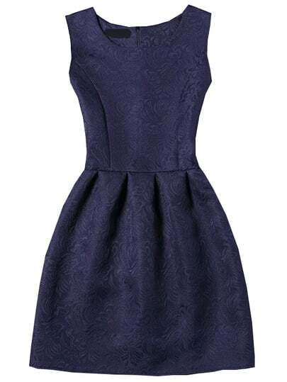 Sleeveless Jacquard Box Pleated Dress