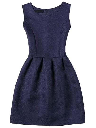 Sleeveless Jacquard Box Pleated Dress