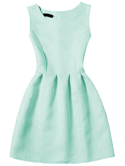 Pale Green Sleeveless Jacquard A-Line Dress