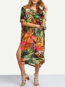 Florals Split Chiffon Beach Dress