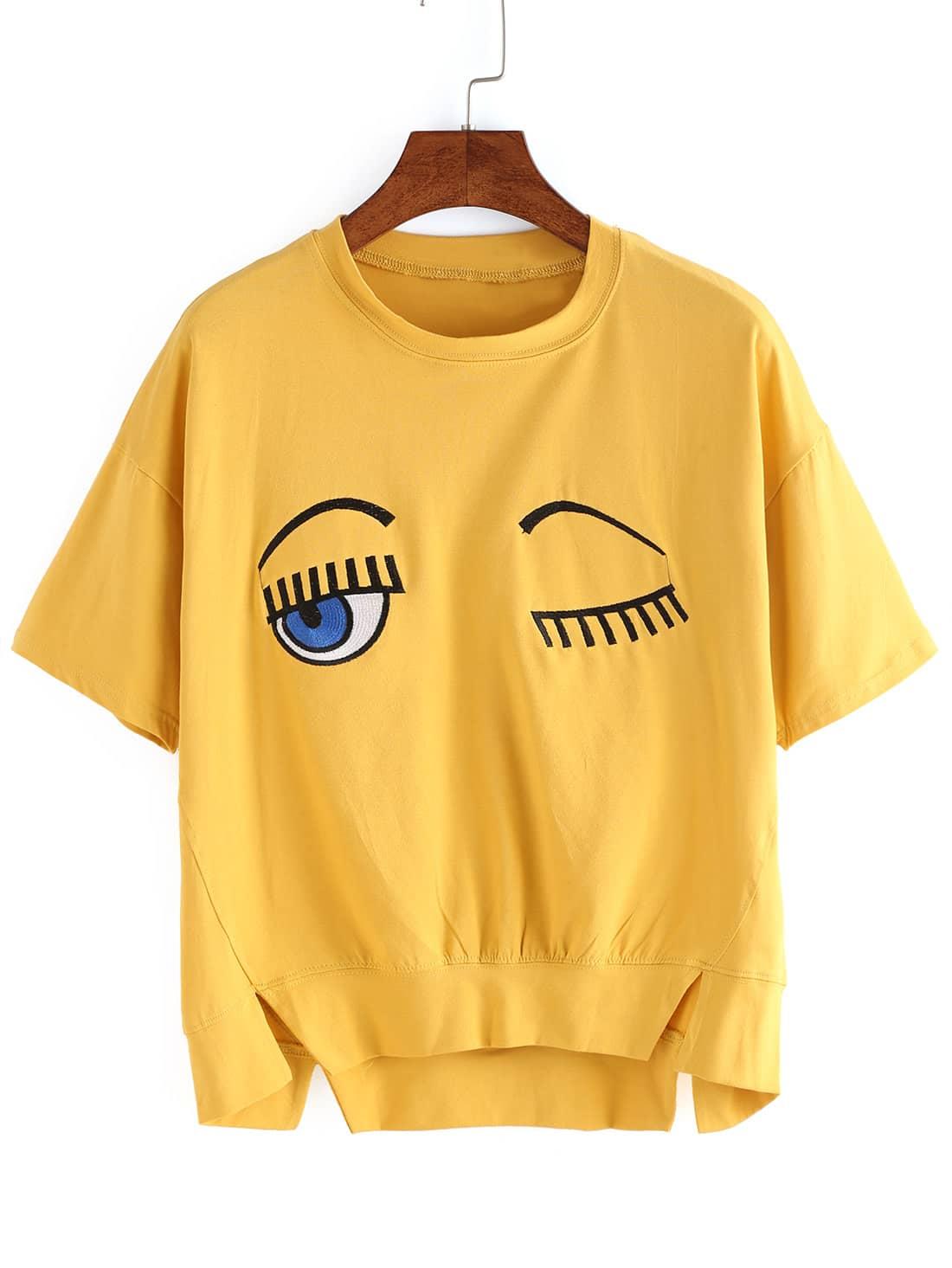 Dip Hem Eye Embroidered Split T-shirtDip Hem Eye Embroidered Split T-shirt<br><br>color: Yellow<br>size: one-size
