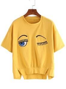 T-shirt trapèze fendu avec broderie