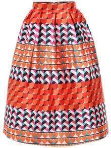 Heart Print Flare Skirt