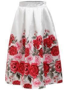 Rose Print Zipper A-Line Skirt