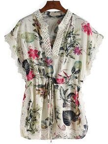 V Neck Florals Drawstring Shirt