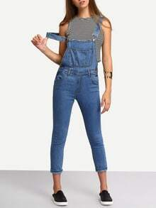 Blue Straps Denim Suspender Jumpsuit With Pocket