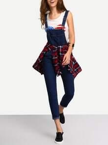 Straps Denim Suspender Jumpsuit With Pocket