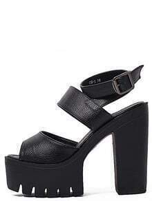 Black Platform Buckle Strap Sandals