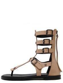 sandale avec zip -beige