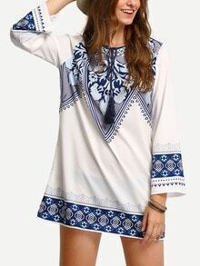Tribal Print Tassell-Tied Tunic Dress