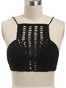 Black Crochet Hollow Out Bikini Top
