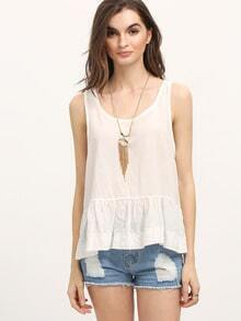 Scoop Neck Peplum Crepe Tank Top