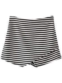 Black White Stripe Elastic Waist Culottes