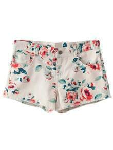 Multicolor Flower Print Pockets Denim Shorts