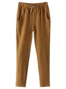 Brown Pockets Drawstring Elastic Waist Hemp Pants