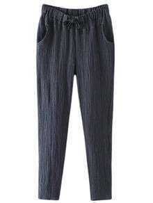 Dark Blue Pockets Drawstring Elastic Waist Hemp Pants