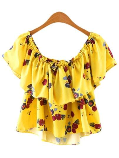 Yellow Off The Shoulder Ruffle Floral Blouse