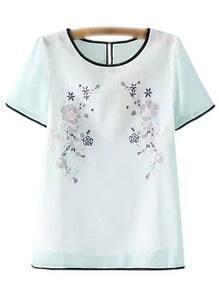 White Short Sleeve Flower Embroidery Blouse