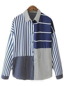 Multicolor Buttons Front Stripe Patch Blouse
