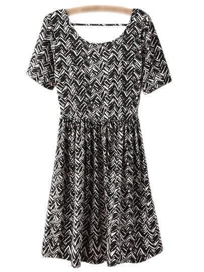 Black White Elastic Waist Wave Print Dress