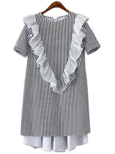 Blue White Vertical Stripe Zipper Back Ruffle Dress