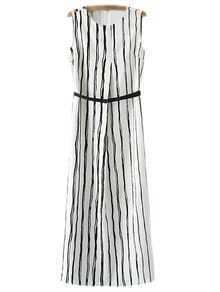 Black White Vertical Stripe Maxi Dress With Belt