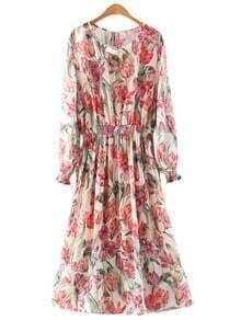 Multicolor Lantern Sleeve Elastic Waist Floral Print Dress