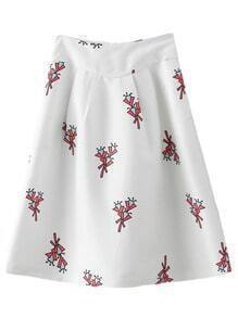 White Zipper Back Print Skirt
