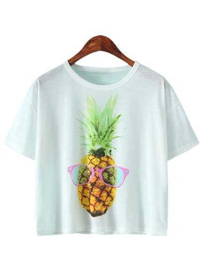 White Short Sleeve Ananas Printed T-shirt