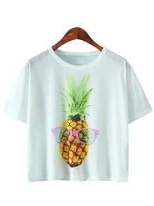 White Short Sleeve Ananas Printed T-shirt