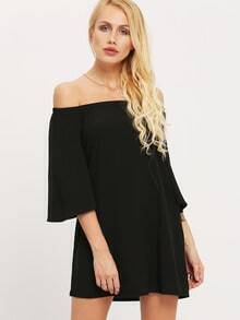 Black Off The Shoulder Bell Sleeve Dress