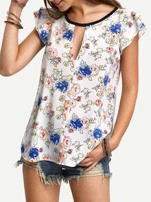 Floral Print In White Cap Sleeve Blouse