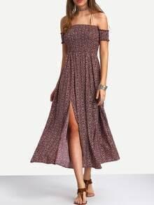 Multicolor Off The Shoulder Split Side Maxi Dress