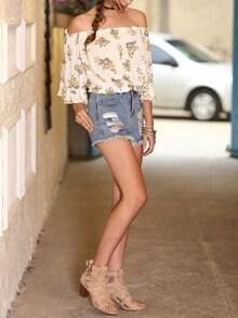 Floral Print In White Off The Shoulder Blouse