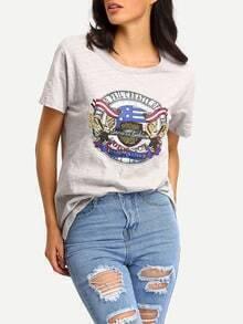 Grey Animal Print Short Sleeve T-shirt