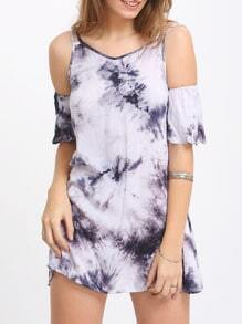 Blue Print In Grey Cold Shoulder Dual Strap Dress