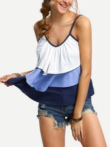 White Blue Contrast Layered Cami Top