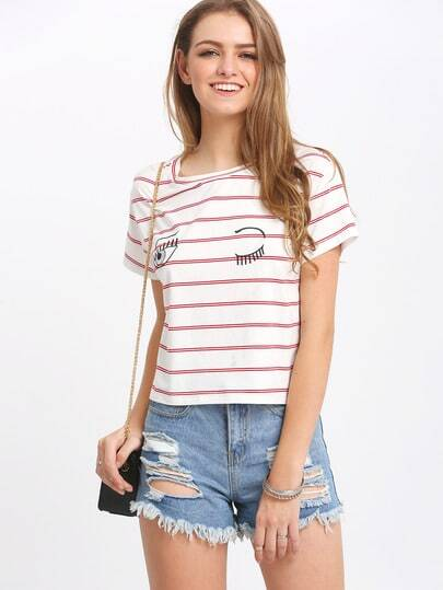 Red Stripe In White Eyelash Print T-shirt