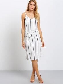 Vertical Breton Stripe Spaghetti Strap Waistband Split Dress