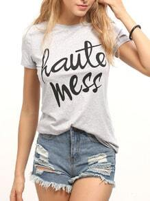 Light Grey Letter Printed Casual T-Shirt