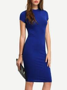 Blue Short Sleeve Knee Length Bodycon Dress