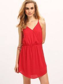Red Spaghetti Strap Criss Cross Back Sash Dress