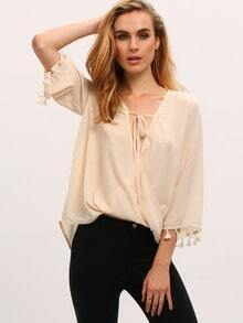 Apricot Tassel Cuff Wrap Front Blouse