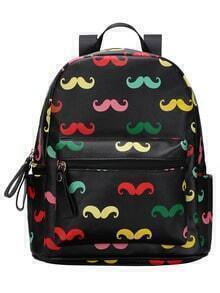 Faux Leather Multicolor Mustache Print Backpack
