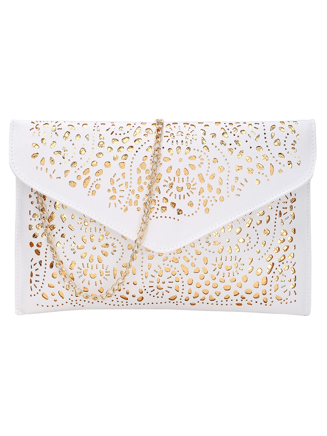 Laser Cut Envelope Clutch With Chain transparent envelope clutch bag