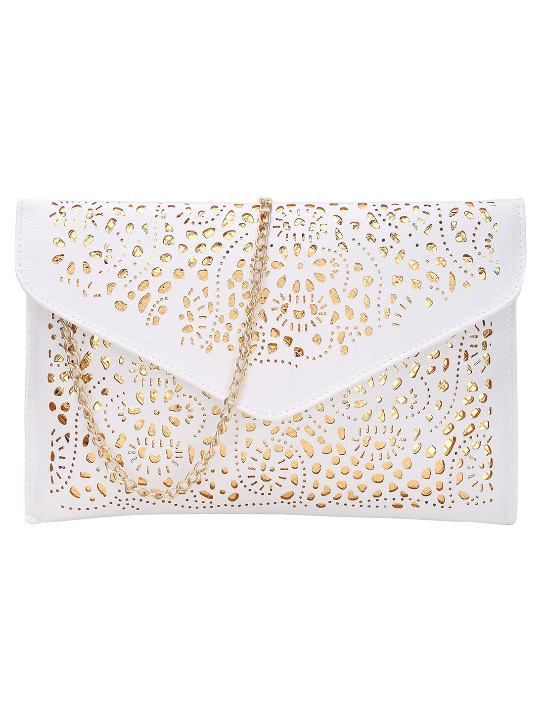 Laser Cut Envelope Clutch With Chain