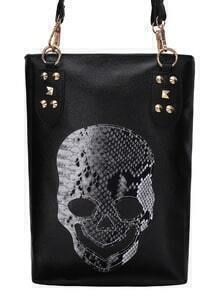 Skull Shape Patch Studded Tote Bag