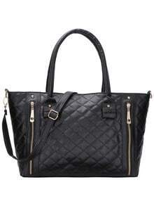 Quilted Zip Embellished Tote Bag